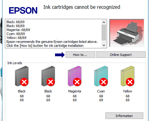 Epson Artisan 50 Ink Cartridges Cannot Be Recognized